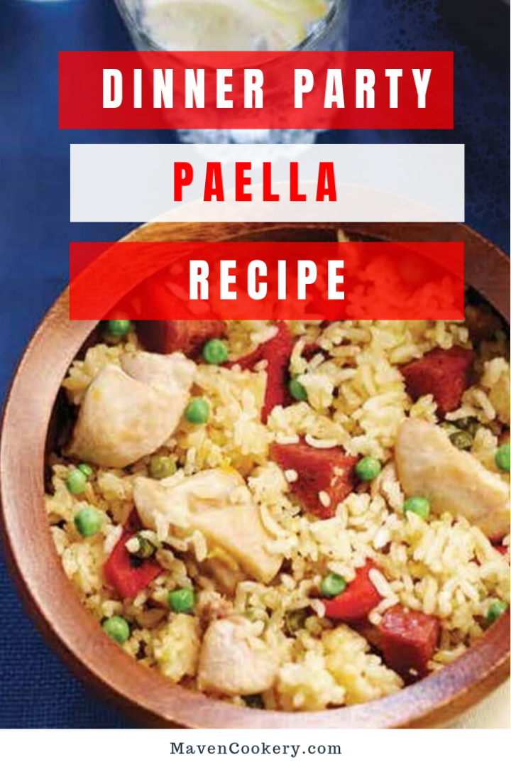 A dinner party worthy Paella Recipe made with chicken, seafood, rice, vegetables, and herbs. #paella #paellarecipe #seafoodpaella #chickenpaella #dinnerpartypaella #dinnerpartyideas #dinnerpartymaincourse #maincourse