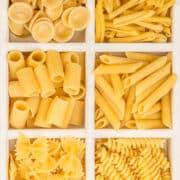 Instant Pot Pasta. An assortment of orecchiette, cavatelli, ziti, penne, farfalle, and rotini.