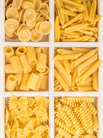 Instant Pot Pasta. An assortment of orecchiette, cavatelli, ziti, penne, farfalle, and rotini.