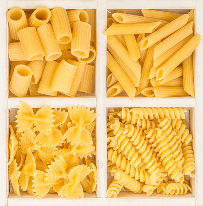 Instant Pot Pasta. An assortment of ziti, penne, farfalle, and rotini.