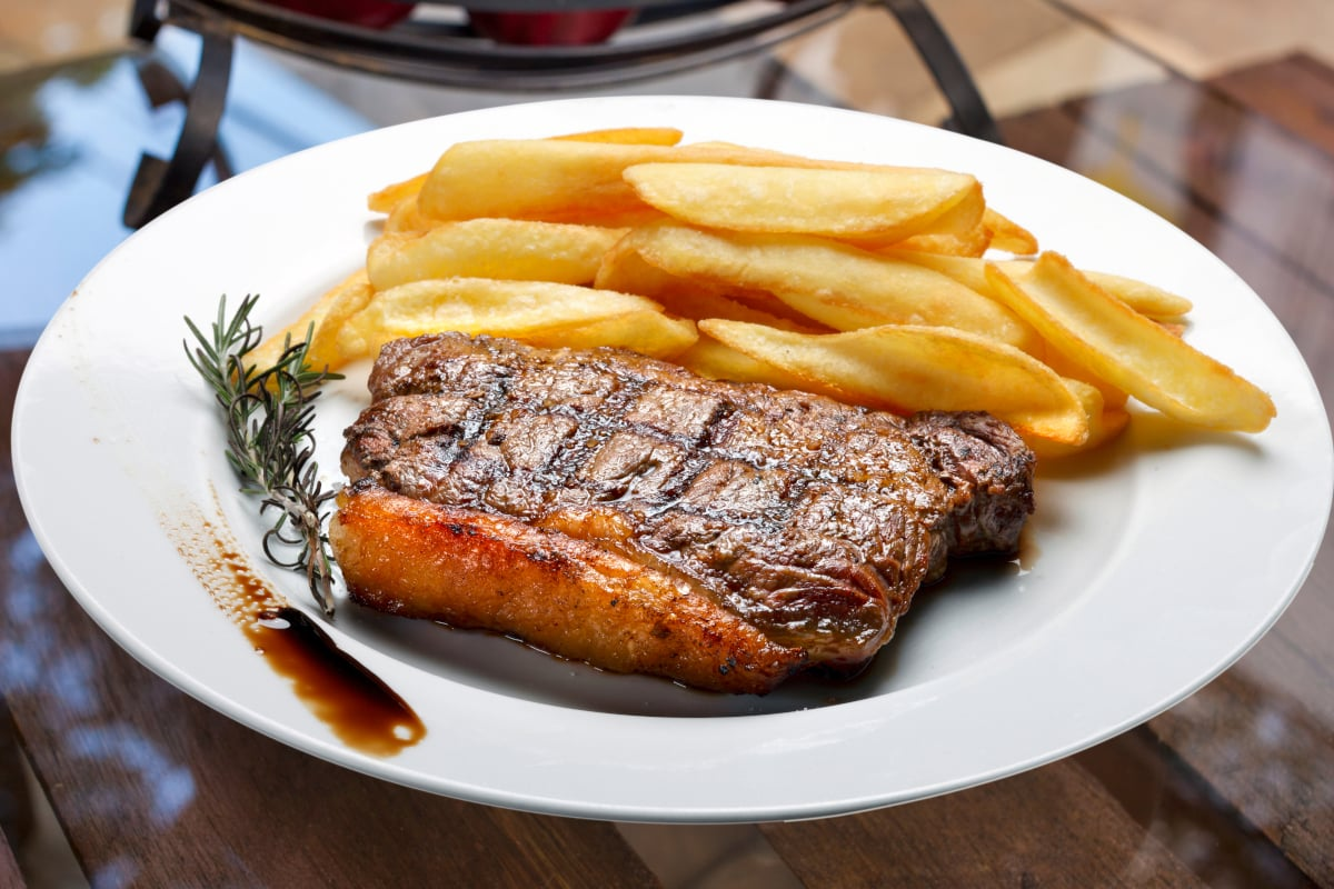 brazilian picanha steak seared with french fries