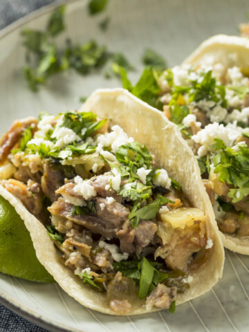 Pork Carnitas sprinkle with cotija and cilantro