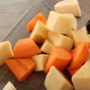 raw carrot potato chunks for roasting