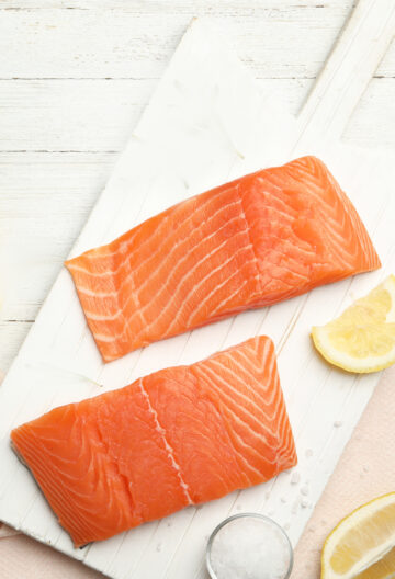 Raw salmon fillets, evenly sized and ready to prepare for cooking