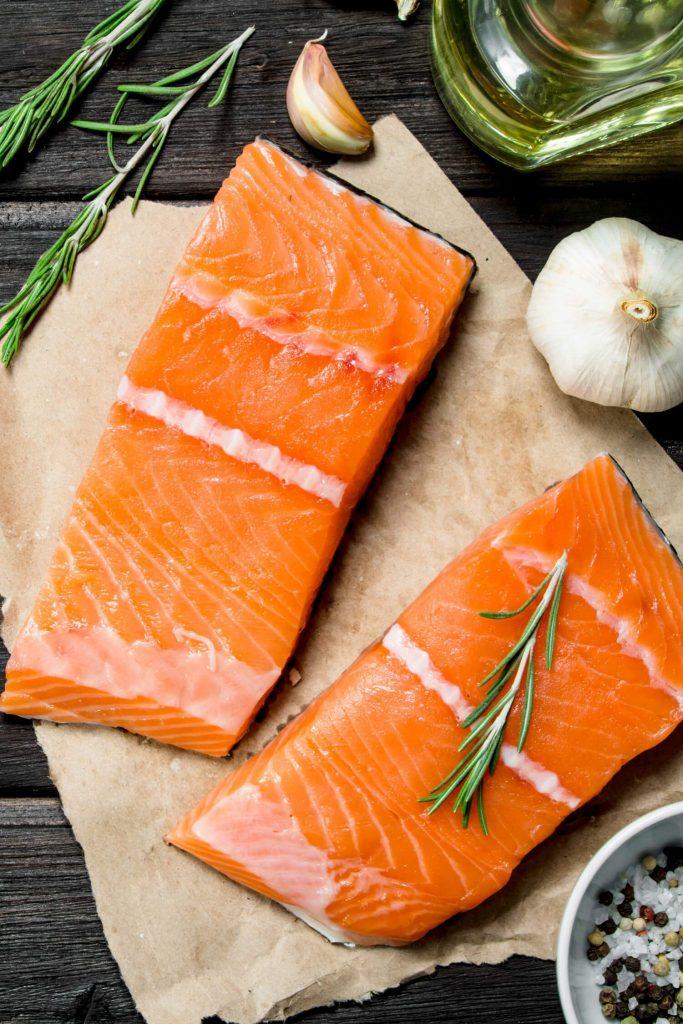 Raw Salmon Fillets Preparation