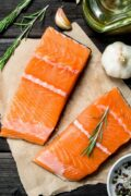 raw salmon fillets prep scaled scaled
