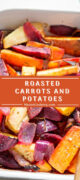 Roasted potatoes, carrots and beets shown in a Pinterest-ready image