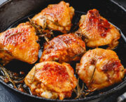 roasted chicken thighs closeup