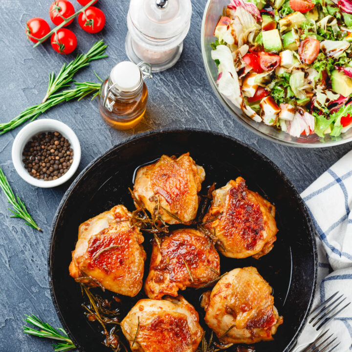 Roasted Chicken Thighs and Cucumber with Tomato Salad
