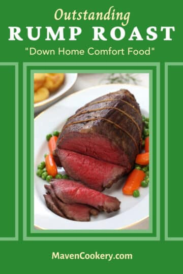 Sliced Medium-rare Rump Roast on a white serving platter. Family-friendly comfort food ideal for gatherings.