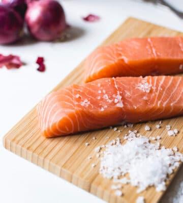 salmon fillet seasonings cutting board scaled