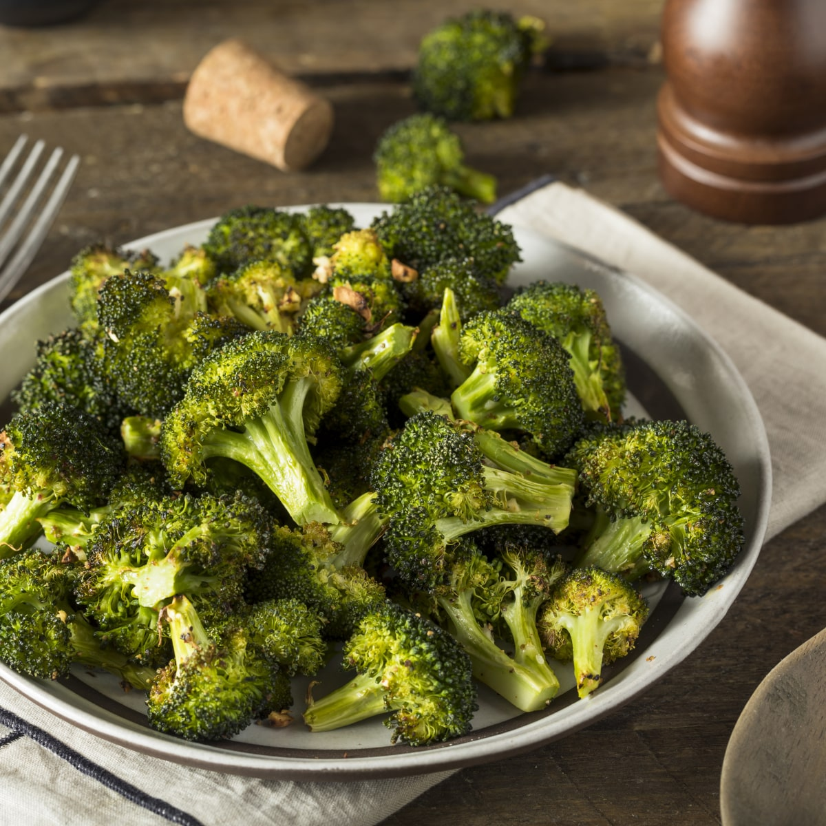 Sautéed Broccoli with garlic, red chili flakes and olive oil. Seasoned with salt and pepper.