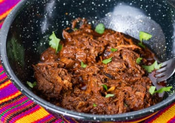 Shredded Birria beef for Birria Tacos in a black speckled bowl with a fork. Bowl is resting on a colorful striped placemat with Mexican styling.