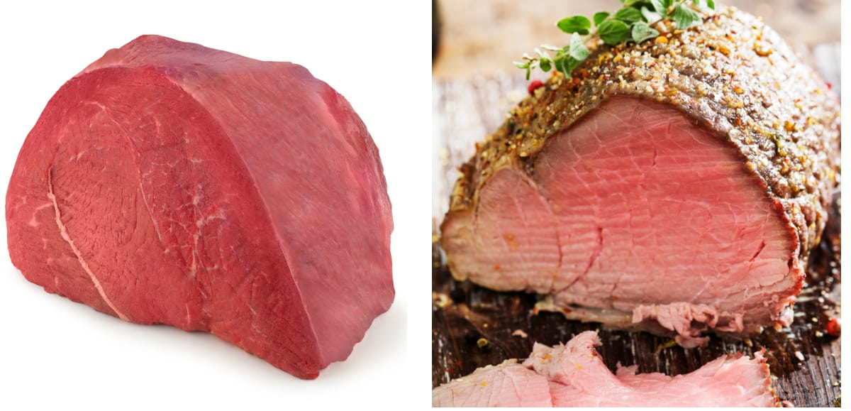 side-by-side picture of a sirloin tip roast before and after roasting. the fresh lean sirloin tip roast is on the left and the roasted sirloin tip is on the right side