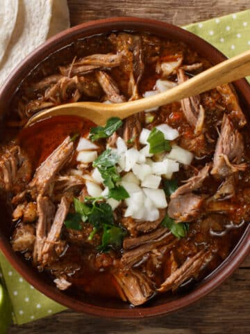 birria des res top down view garnished with onions and cilantro. tortillas on the side ready for filling